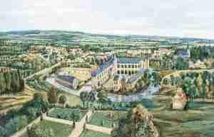Burg und Herrlichkeit Odenkirchen von Nordwesten um 1680, Gemälde von Gebhard Schwermer (1930-2007) im Burgturm zu Odenkirchen (nach einem Detail eines Wandteppichs auf Schloss Westerloo der Fürsten von Merode in Belgien)